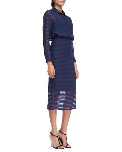 Striped Silk Chiffon Shirt & Pencil Skirt