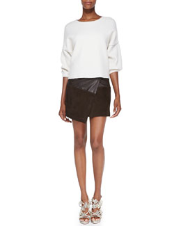 Alice + Olivia Audreana Boxy Fleece Sweater & Leather/Suede Faux-Wrap Miniskirt