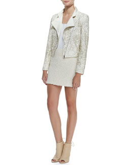 Alice + Olivia Jace Beaded Quilted Moto Jacket, Lucy Sleeveless Silk Trapeze Top & Neville Clean Fitted Miniskirt