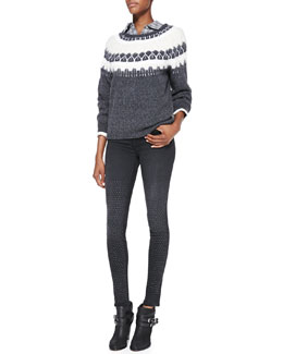 J Brand Ready to Wear Kasia Two-Tone Knit Sweater, Vika Faded Plaid Cotton Shirt & 231 Maria High-Rise Studded Skinny Jeans