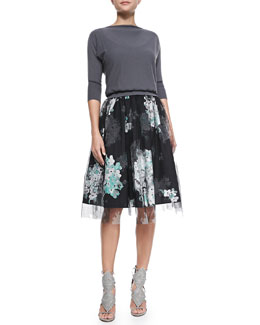Milly Boat-Neck Knit Pullover Sweater & Monica Floral-Print/Tulle Skirt