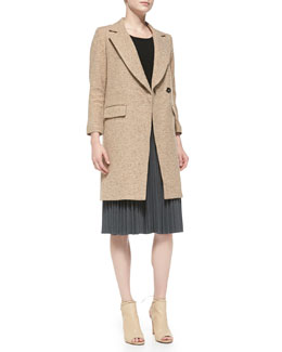 Milly Cleo Tweed Bracelet-Sleeve Coat, Knit 3/4-Sleeve Zip-Back Sweater & Alex Pleated Skirt