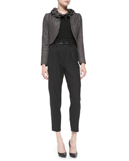 Milly Ruffled-Collar Tweed Jacket, Knit 3/4-Sleeve Zip-Back Sweater & Paperbag Cropped Pleated Trousers
