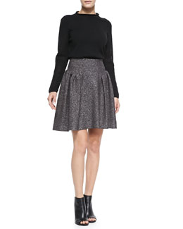 Milly Wool High-Neck Sweater and Gathered Tweed Skirt