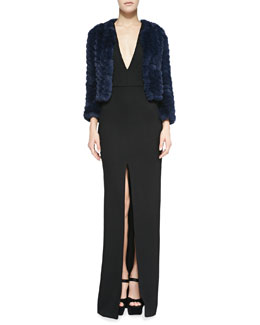 Alice + Olivia Marlene Zigzag Fur Jacket & Kahlo Center Slit Maxi Dress