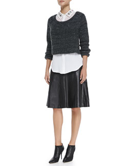 Milly Cropped Ribbed Knit Sweater, Jane Bead-Collar Stretch-Silk Blouse & Bell A-Line Leather Skirt