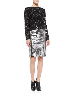 Milly Metallic Ballet Top & Leather Pencil Skirt