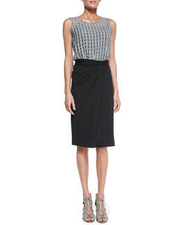 Theory Filleo Bringa Open-Windowpane High-Low Top & Rhina Twist-Waist Jersey Skirt