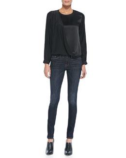 FRAME Le Drape Satin/Charmeuse Top & Le Skinny De Jeanne Jeans
