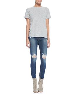 FRAME Le Boyfriend Slub Pocket Tee & Le Skinny De Jeanne Jeans