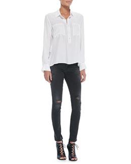 FRAME Le Boyfriend Loose Silk Blouse & Le Skinny De Jeanne Jeans