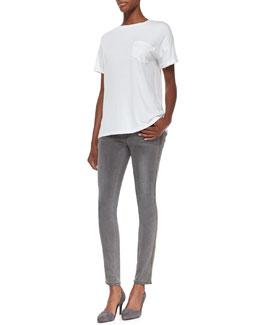 FRAME Le Boyfriend Jersey Tee & Le Skinny Zip-Detail Jeans