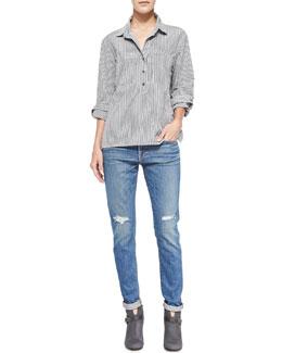 FRAME Le Boyfriend Cotton Pinstriped Top & Le Garcon Denim Jeans