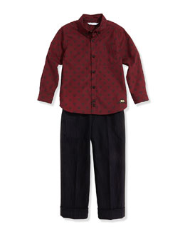 Little Marc Jacobs Boys' Tiger-Print Woven Shirt & Pinstripe Suit Pants