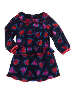 Little Marc Jacobs Girls' Flower Print Ruffle Peplum Dress, Navy