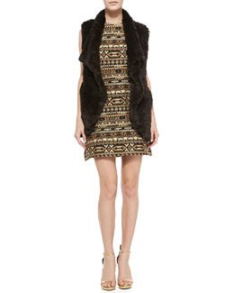 Alice + Olivia Bronn Fur Vest & Wilcox Sleeveless A-Line Dress