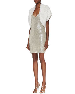 Alice + Olivia Warok Fur Shrug & Sequin-Embellished V-Neck Dress