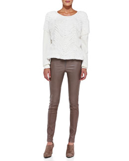 Alice + Olivia Rabbit Fur/Knit Combo Top & Front-Zip Leather Leggings