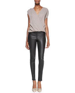 Alice + Olivia Lilah Shimmery Surplice Blouse & Leather Leggings