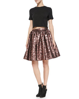 Alice + Olivia Short-Sleeve Crewneck Crop Top & Pia Metallic Jacquard Full Skirt
