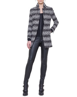 Akris punto Tweed Drawstring-Collar Jacket, Dot-Detail Top & Leather and Jersey Leggings