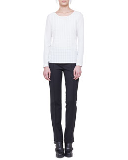Akris punto Long-Sleeve Dot-Appliqué Blouse and Francoise Twill Pants