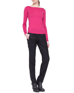 Akris punto Long-Sleeve Contrast-Zip Top and Slim Pleated Jogging Pants