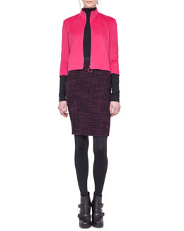Akris punto Angora-Blend Zip Jacket, Mock-Neck Top & Tweed Pencil Skirt