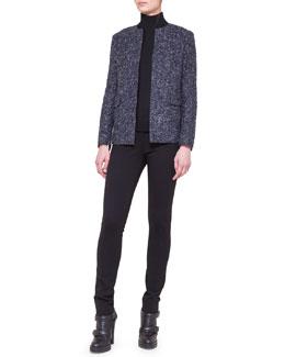 Akris punto Collarless Boucle Jacket, Two-Tone Turtleneck & Stretch Jersey Skinny Pants