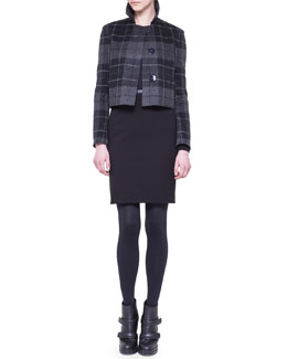 Akris punto Cropped Check Jacket and Jersey Pencil Skirt