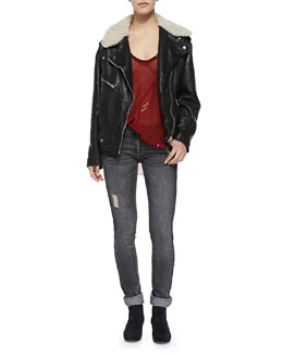 Isabel Marant Etoile Benny Shearling Fur-Collar Moto Jacket, Cameron Striped Tank Top & Tina Destroyed Slim Jeans
