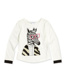 Little Marc Jacobs Girls' Zebra Printed Long-Sleeve Tee