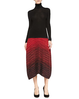 M Missoni Long-Sleeve Ribbed Turtleneck & Ombre Space-Dye Midi Skirt