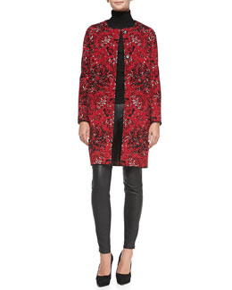 M Missoni Marble Jacquard Coat, Long-Sleeve Ribbed Turtleneck & Leather Pants with Zipper Cuffs