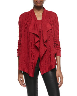 M Missoni Solid-Knit Waterfall Cardigan & Waffle Tank