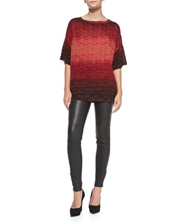 M Missoni Ripple-Knit Degrade Short-Sleeve Top & Leather Pants with Zipper Cuffs