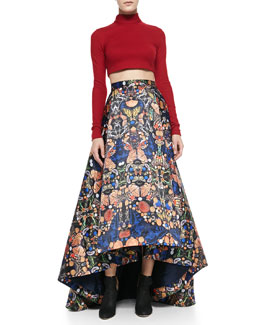 Alice + Olivia Knit Mock-Neck Cropped Top & Cohe Printed High-Low Maxi Skirt