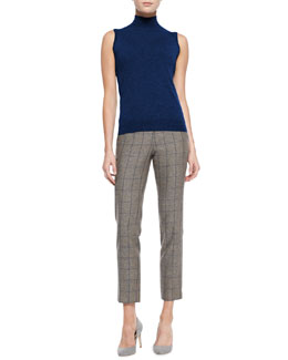 Theory Cashmere Sleeveless Turtleneck Staple Top & Item Windowpane-Check Cropped Pants
