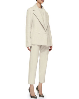 Theory Lianmar Wide-Lapel Fleece Coat, Jaidyn Fuzzy Knit Sweater & Korene Knit Crepe Pull-On Pants