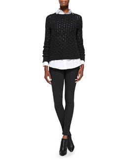 Theory Koralyn Lightweight Knit Sweater, Nareen Poplin Button-Front Shirt & Piall Stretch-Knit Pull-On Leggings