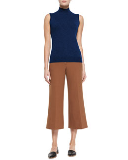 Theory Cashmere Sleeveless Turtleneck Staple Top & Inza Cropped Wide-Leg Pants