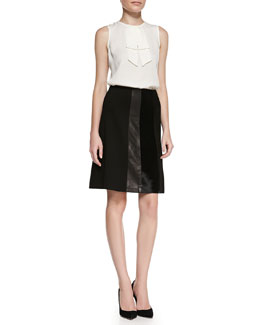 Theory Turnia Tie-Front Silk Top & Nadav Ponte/Leather/Fur Skirt