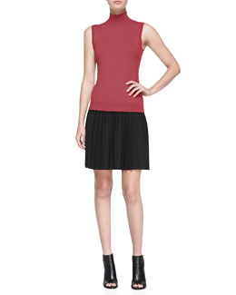 Theory Cashmere Sleeveless Mock-Neck Sweater & Zeya Urban Pleated Skirt
