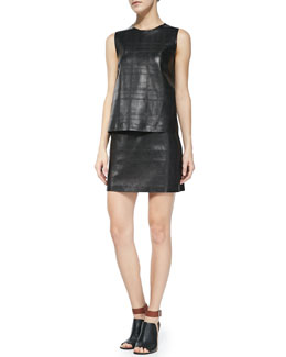 Theory Emlay Plaid Leather/Cashmere Top & Keeta Miniskirt