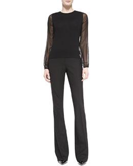 Theory Sarafaye Charmeuse-Overlay Knit Blouse & Brinton Boot-Cut Suiting Pants