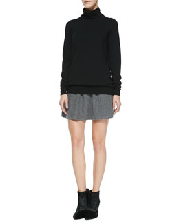 Theory Kristoff Knit Turtleneck Sweater & Ixen Felt Miniskirt