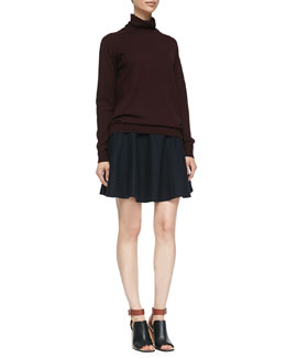 Theory Kristoff Knit Turtleneck Sweater & Merlock Pleated Short Skirt