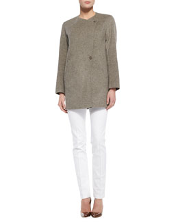 Theory Nyma Divide Asymmetric Two-Button Jacket & Patice Knit Casual Pants