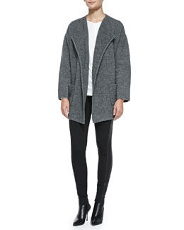 Theory Darcian Wool-Blend Coat, Newtino Ribbed Jersey Top & Azray Leather/Ponte Skinny Pants