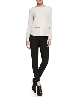 Theory Gentalla Layered Double-Georgette Top & Venlynn Zipper-Cuff Twill Pants